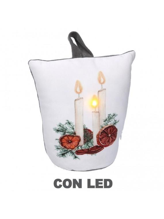 Fermaporta tessuto lanterna led bianco cm 20 x 10 h28