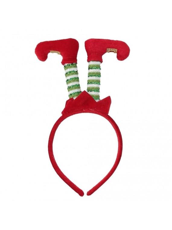 Cerchietto tessuto piedi elfo rosso cm 25 x 10 x 2