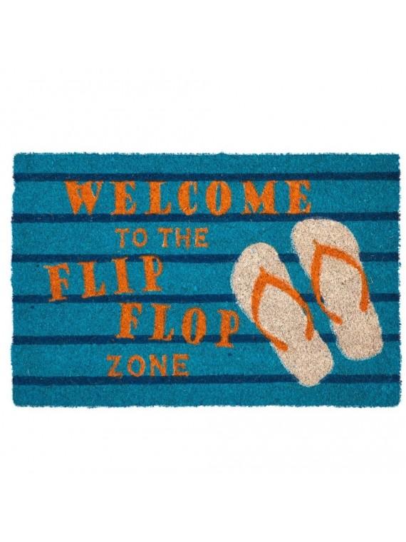 ZERBINO FLIP FLOP ZONE FONDO AZZURRO BLUE SCRITTA ARANCIO