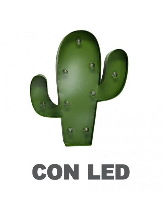 DECORAZIONE CACTUS METALLO VERDE CON LED   CM 25 5x30 5x5