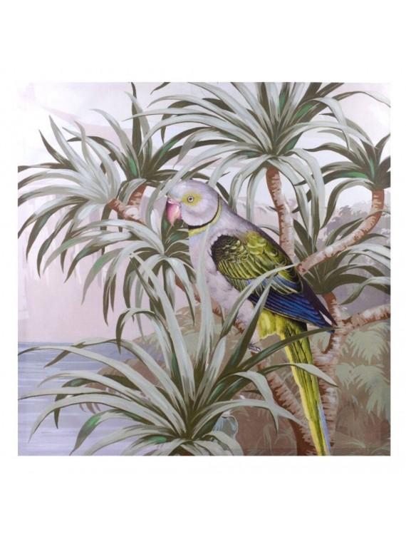 Quadro dipinto pappagallo cm80x80x3