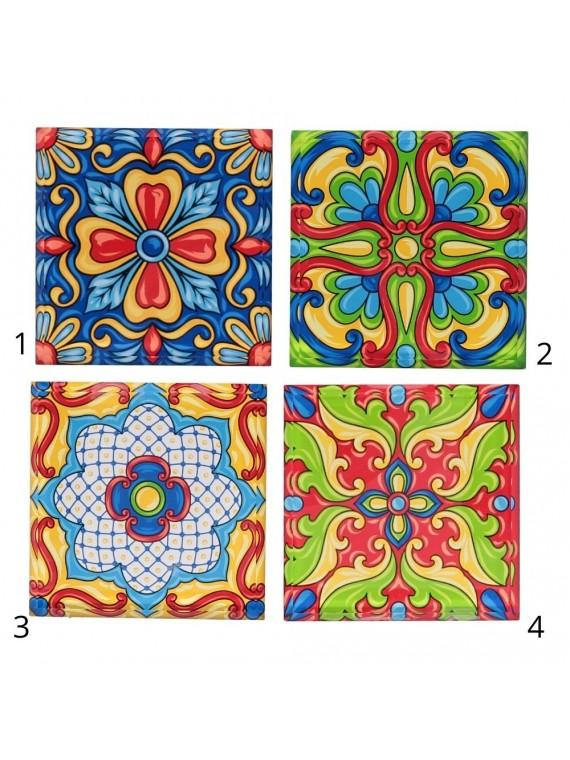 Sottobicchiere vetro multicolor quadro 4  assortiti cm10x10h1
