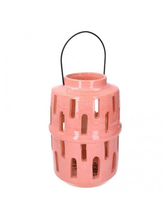Lanterna ceramica rosa tondo diam 14 h28
