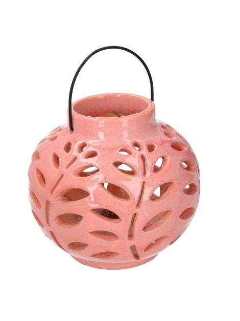 Lanterna ceramica rosa tondo diam 16 h19