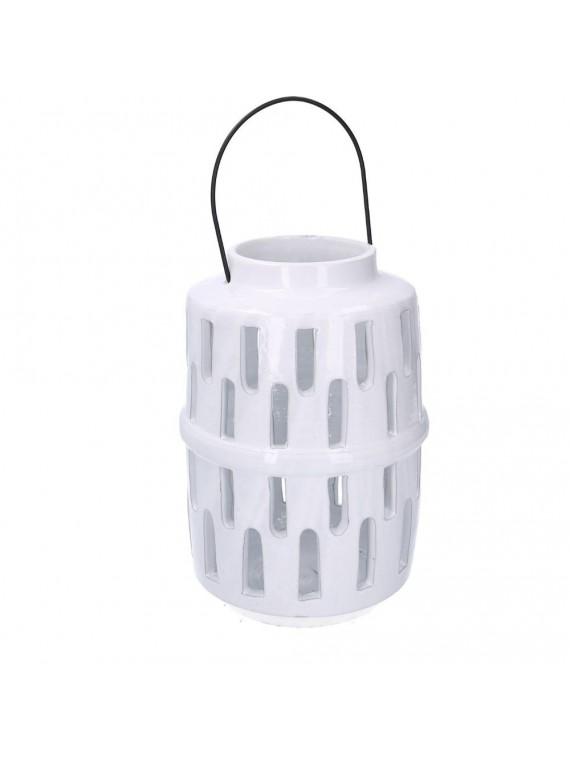 Lanterna ceramica bianco tondo diam 12 h23