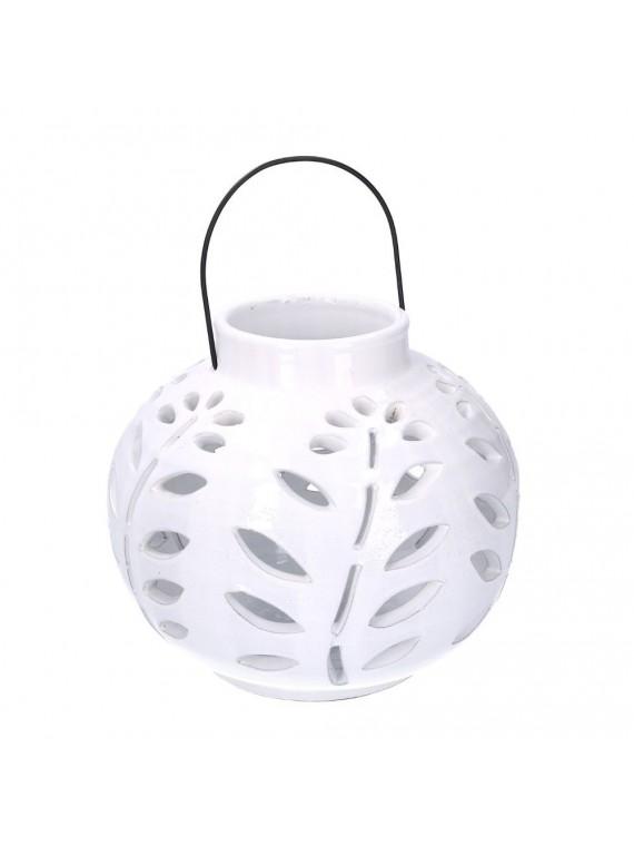 Lanterna ceramica bianco tondo diam 16 h19