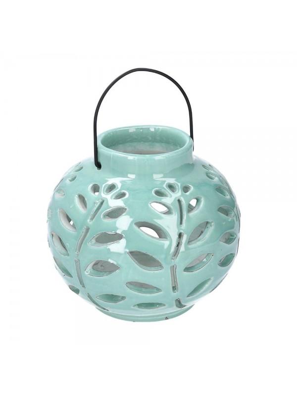 Lanterna ceramica verde tondo diam 16 h9