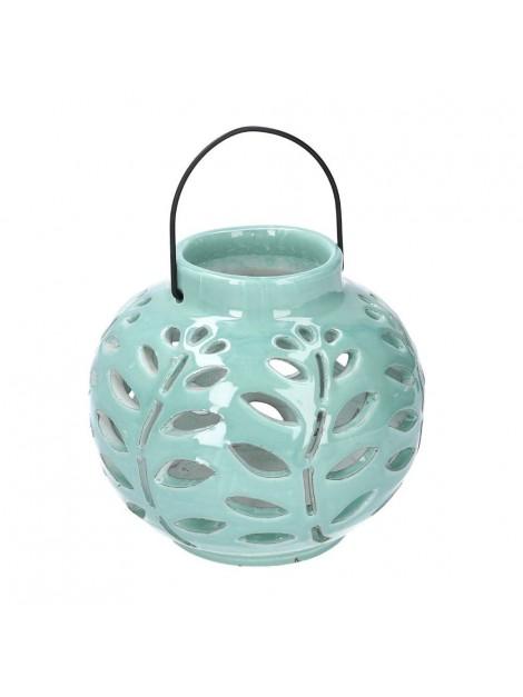 Lanterna ceramica verde tondo diam 17 h23