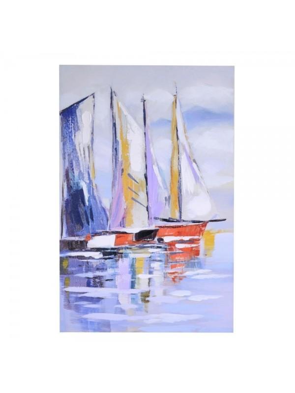 Quadro dipinto mare barca cm60x90x3