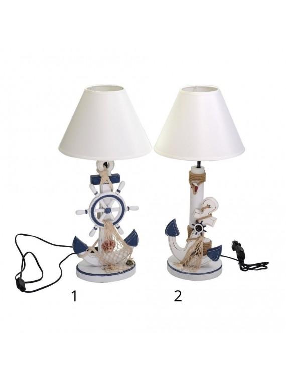 Lampada mare legno cappello bianco ancora 2 assortiti diam 26 5 h56