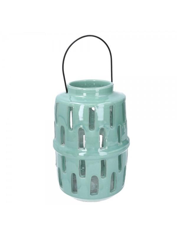 Lanterna ceramica verde tondo diam 14 h28