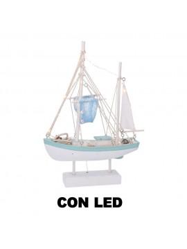 Barca legno mare con led azzurro cm28 5x 8 h42
