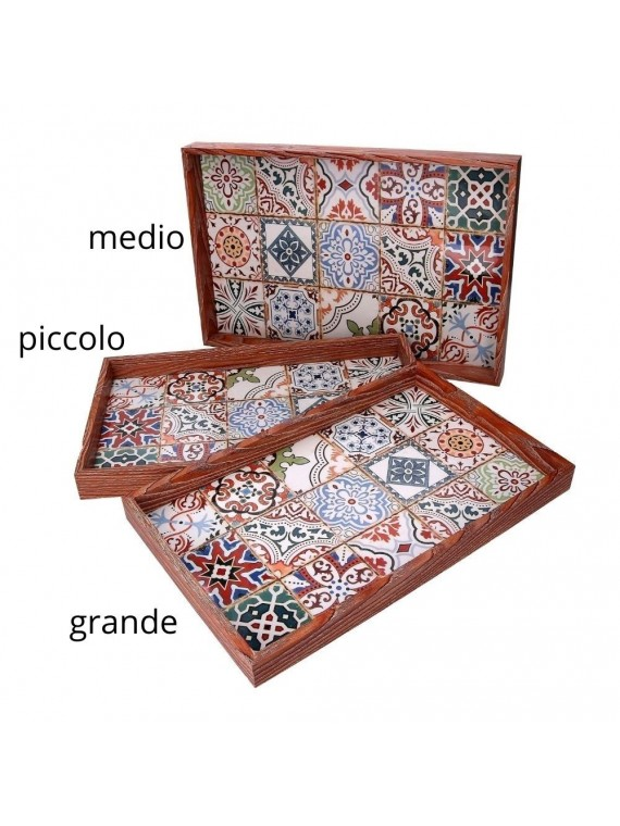 Vassoio legno 2 mosaico bianco bordo marrone cm42x27 h3 6