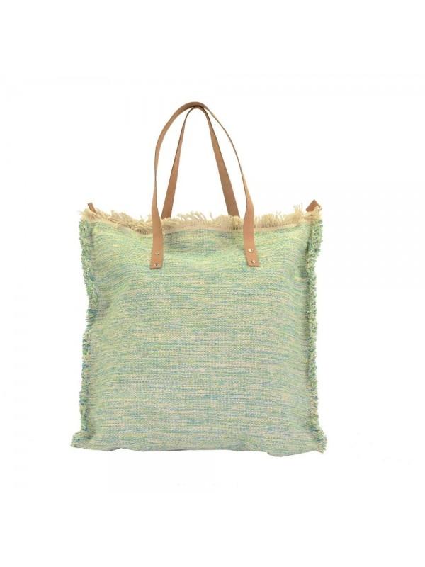 Borsa tessuto verde azzurro con manici noce cm 48 h50-70x1