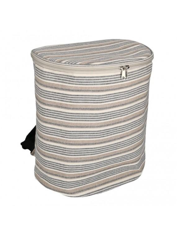 Borsa frigo zaino grigio blu righe cm31x 21h35