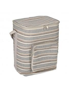 Borsa frigo grigio blu righe con tasca c m24x19 h34