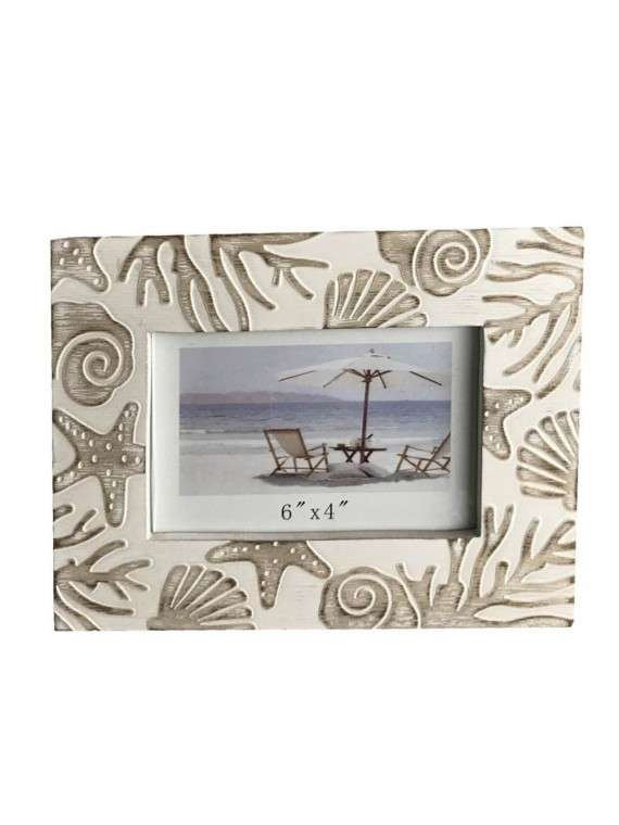 Portafoto legno mare bianco cm22x17h2
