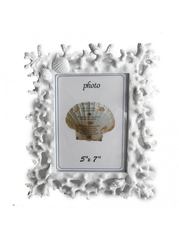 Portafoto resina corallo bianco cm26 5x2 1 5h2