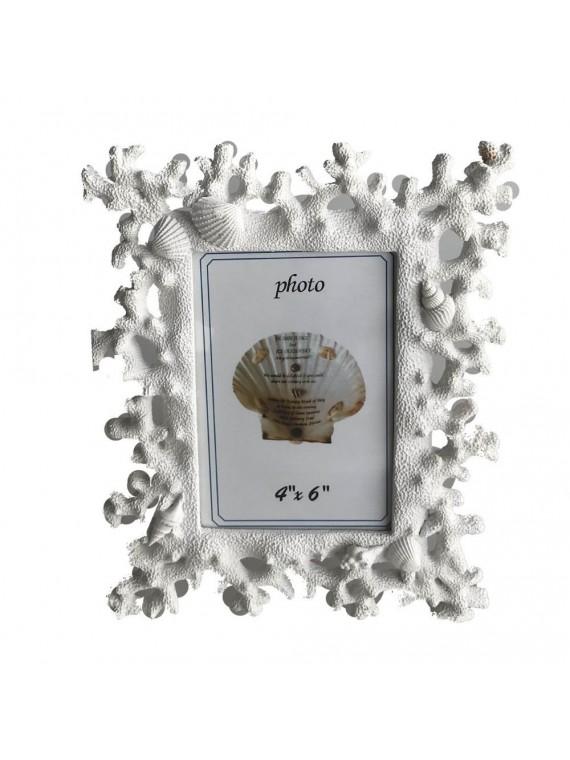 Portafoto resina corallo bianco cm23 5x1 9h2