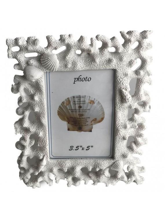 Portafoto resina corallo bianco cm16x19  5h2