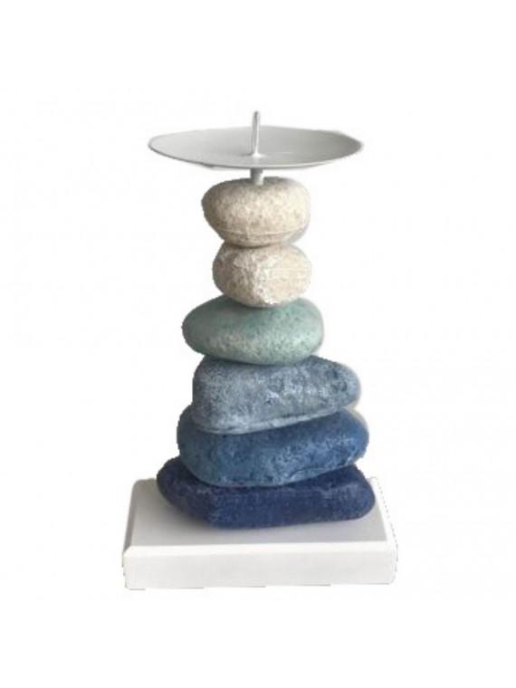 Portacandele legno pietre azzurro cm11 8 x5 5h23