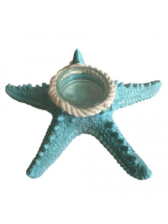 Portacandele resina stella azzurro cm15 5x15 5h4
