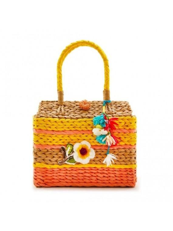 Borsa bauletto paglia colorata con decorazione