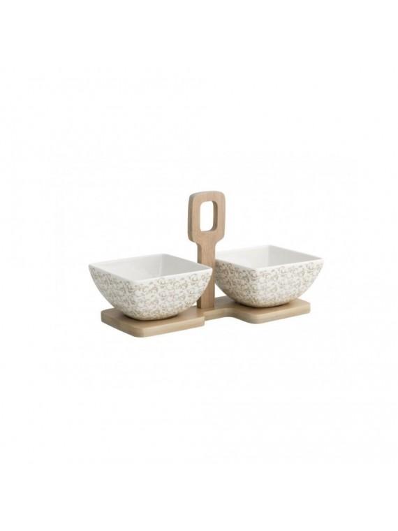Brandani antipastiera riccioli di fata set 2 pezzi porcellana con supporta bamboo