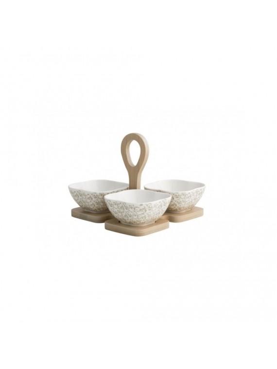 Brandani antipastiera riccioli di fata set 3 pezzi porcellana con supporto bamboo