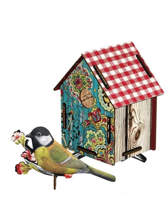 Miho casetta decorativa con uccellino in tessuto - serenade